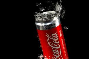 Coke Can splashing into water