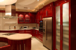 upscale kitchen in red in modern home