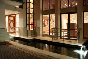 Koi pond at luxury home