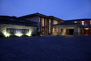 exterior of luxury home at night