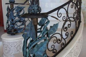 brass fashioned stairway railing
