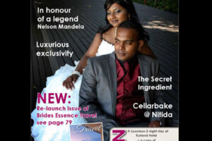 Bride and groom on the front page of Bridal Essence Magazine