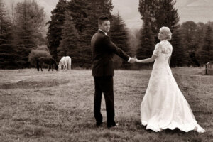 Wedding couple posing with two horses in the background