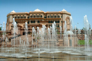 water fountains in front of Emirates Palace Abu-Dhabi