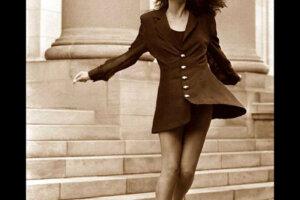 fashion model in short black vintage retro dress