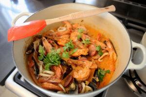 seafood dish in pan