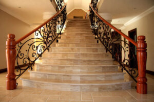marble stairway in upscale home