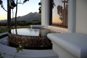 Koi pond at luxury upscale home