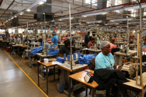 textile factory workers at work