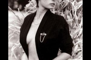 short haired model posing in vintage retro look jacket