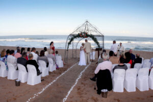 beach wedding with guests