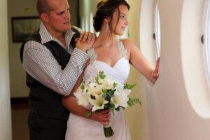 beautiful bride with her groom