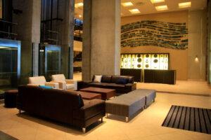 interior lounge at modern soccer stadium
