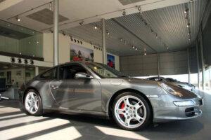 expensive sportscar on dealership floor