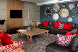 modern lounge in trendy luxury home