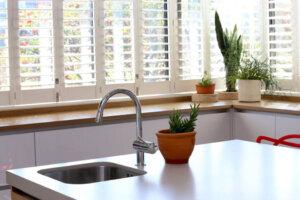 modern salad sink in kitchen