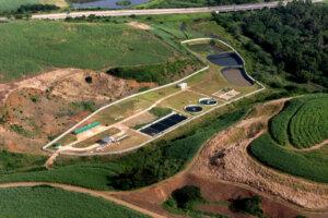 aerial view of industrial waterworks site