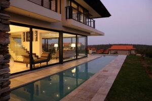 luxury home with longitudinal pool