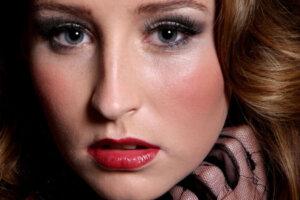 studio portrait of blue eyed model
