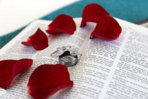 beautiful diamond wedding rings on Bible with red rose petals
